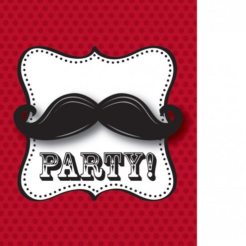 Einladungskarten Mustache 8 Stück