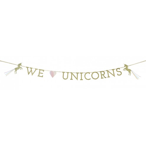 We Love Unicorns Girlande glitzer gold 3m