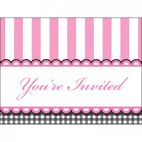 Einladungskarten rosa 8 Stück