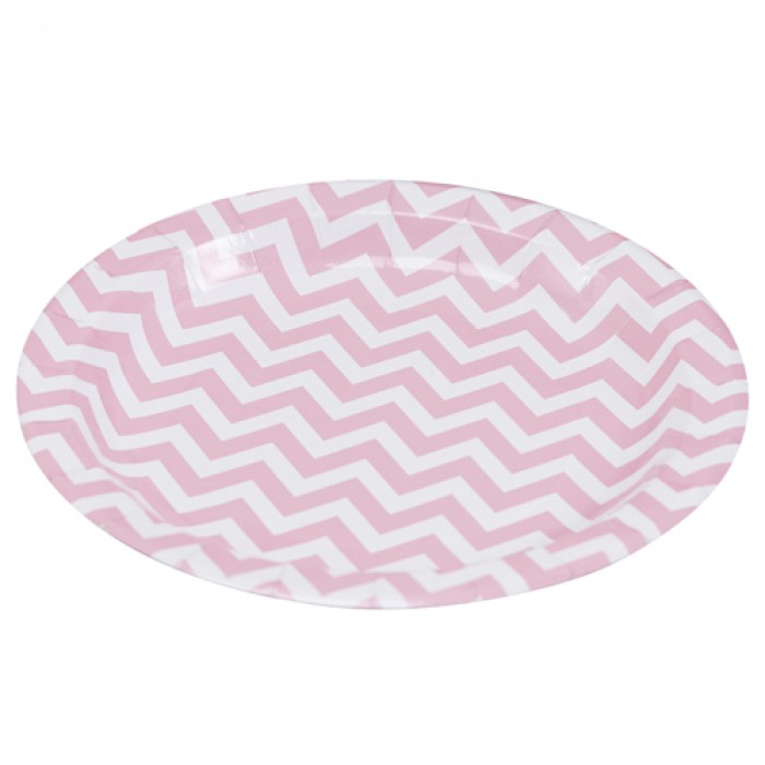 Pappteller chevron divine rosa 8 st ck for Rosa pappteller