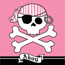 Piraten - 16 Servietten rosa