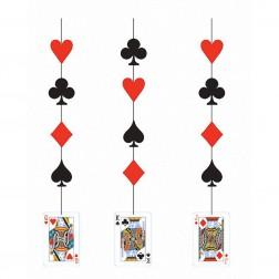 Poker Party - Hängende Deko 3 Stück