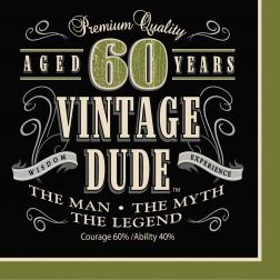 Servietten 60. Geburtstag Vintage Dude 16Stück