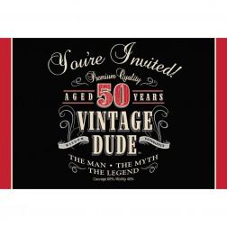 Einladungskarten 50. Geburtstag Vintage Dude 8Stück