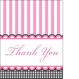 Dankeskarte - Thank You Cards rosa 8 Stück