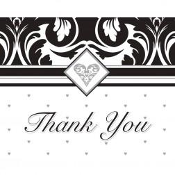 Dankeskarte Black & White Party 8Stück