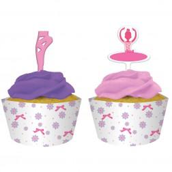 Ballerina - 12 Cupcake Formen & Picks