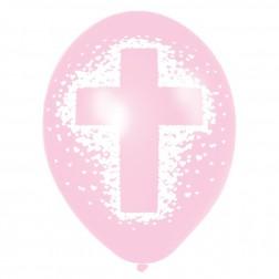 Latex Ballon - Rosa Taufe 6 Stück