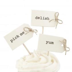 Cupcake Sticks mit Schleifen beschriftet 12Stück
