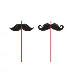Strohhalme Mustache Party 6Stück