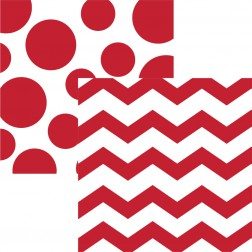 Servietten Chevron Polka Dots Rot 16 Stück