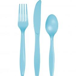 Plastikbesteck Pastellblau 24Teilig