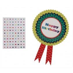 Rosette Happy Birthday mit Buchstaben von A bis Z, Zahlen, Smileys Stickern