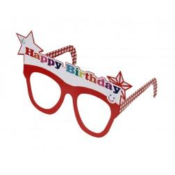 Brille Happy Birthday mit Buchstaben von A bis Z, Zahlen, Smileys Stickern