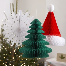 Weihnachtsdeko Set mit Schneeflocke, Tannenbaum, Santa Mütze