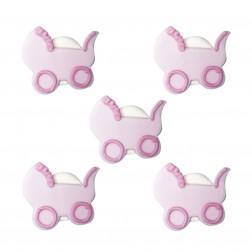 Zuckerdekor Kinderwagen Rosa 5 Stück