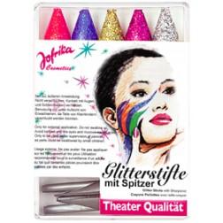 Glitterschmink Stifte mit Spitzer 5Stifte
