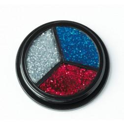 Trio Glitter silber, rot, blau