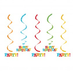 Spiralgirlande Happy Birthday Party 5er Set