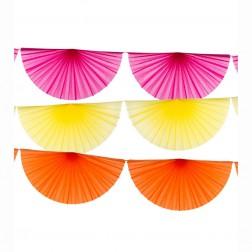 Girlande Papierfächer - orange, pink, gelb je 3,5m
