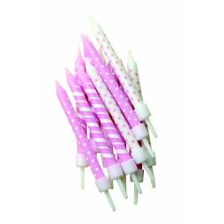 Kerzen Dots & Stripes Rosa 12 Stück