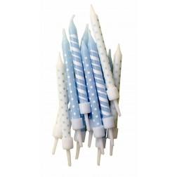 Kerzen Dots & Stripes Blau 12 Stück