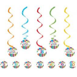 Hängende Deko Happy Birthday mit Stickers 18. 21. 30. 40. 50. 60. 70. 80. Geburtstag