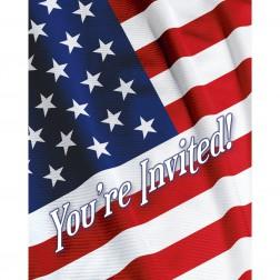 Einladungskarten Amerika Party 8 Stück