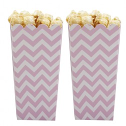 Popcorn Boxen Chevron rosa 8 Stück