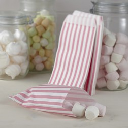 Pink Weiß gestreift Tüten 25 Stück