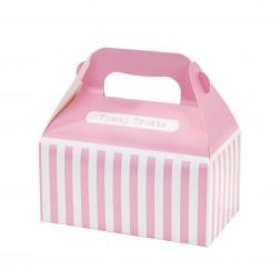 Partyboxen gestreift Rosa 4 Stück