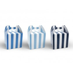 Boxen mit Streifen Blau 6 Stück