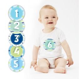 12 Monat Stickers Set Blau