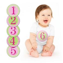 12 Monat Stickers Set Rosa