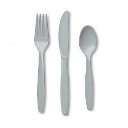 Plastikbesteck Silber 24Teilig