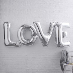 Love Folienballon Silber 91cm