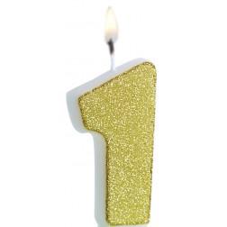 Kerze 1 Glitter Gold