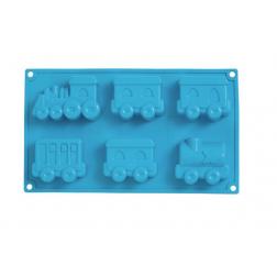 Silikonbackform ZUG mit Rezeptheft blau