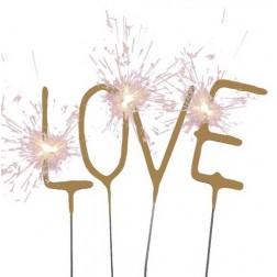 Mini Wunderkerzen LOVE gold