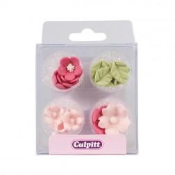 Zuckerdekor Blumen mit Blätter Rosa 16 Stück
