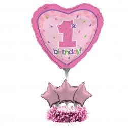 1. Geburtstag Air Filled Folienballon Set rosa