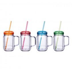 Plastik Kühlbecher mit Henkel und Strohhalm 4 Stück