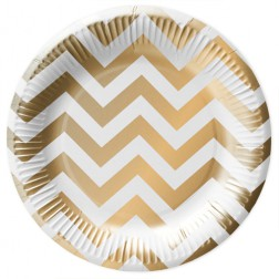 Pappteller White Gold 10 Stück