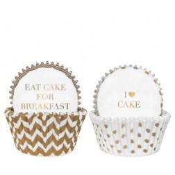 Cupcake Formen Chevron White Gold 50 Stück