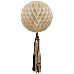 Wabenball mit Quaste Creme 35cm