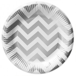 Pappteller White Silver 10 Stück
