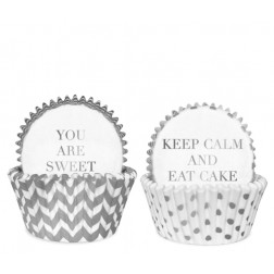 Cupcake Formen Chevron White Silver 50 Stück