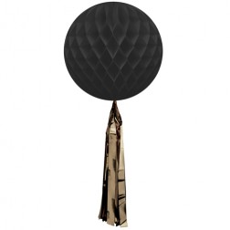 Wabenball mit Quaste Schwarz 35cm