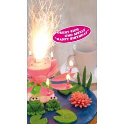 Tortenfontänen mit Musik Happy Birthay pink