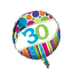 Folienballon 30. Geburtstag Bright & Bold 45cm